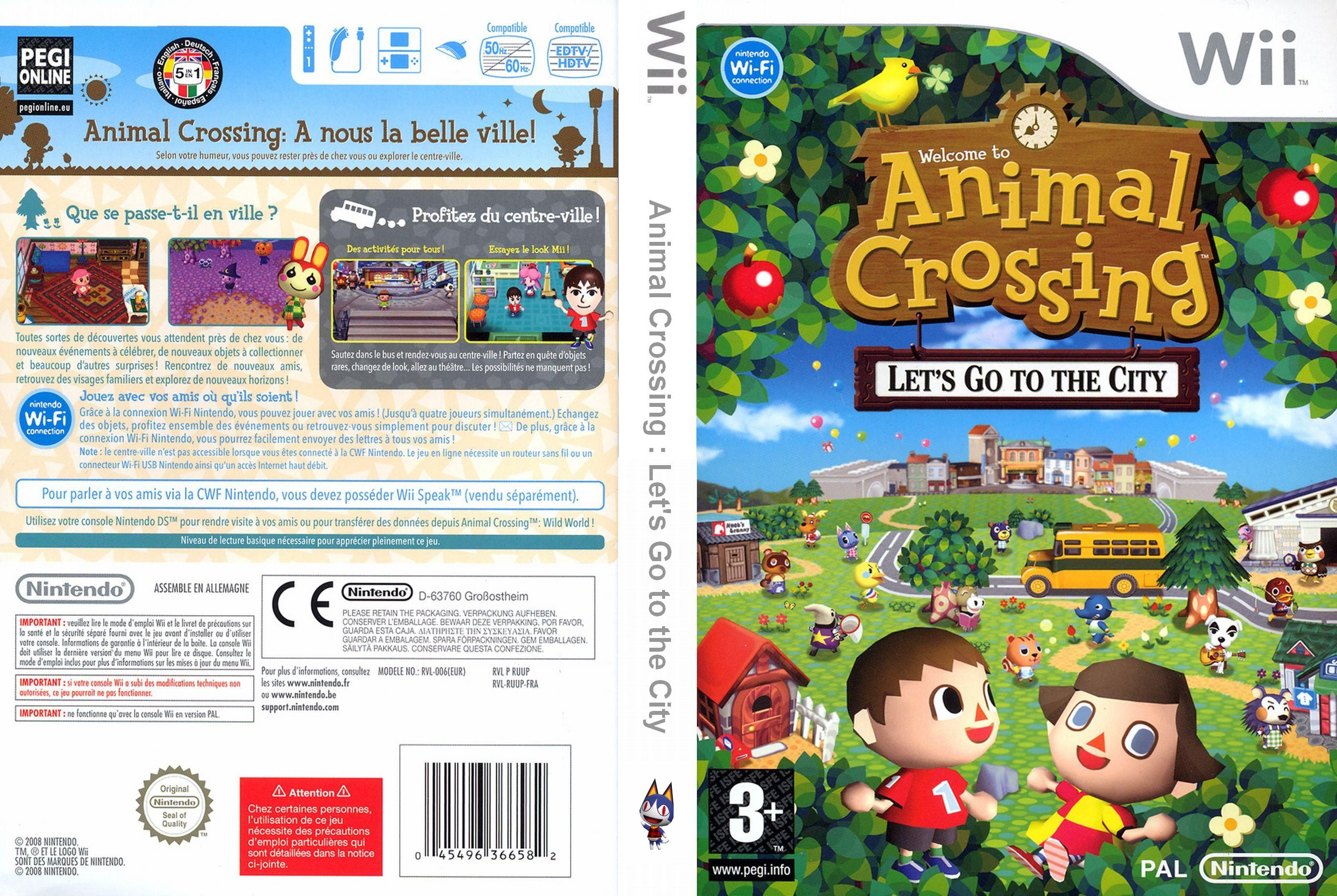 Pochette jeu wii - Jaquette wii Animal Crossing Let's Go to the City